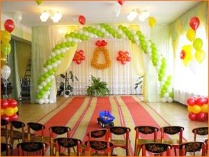 Оформление зала в детском саду шариками