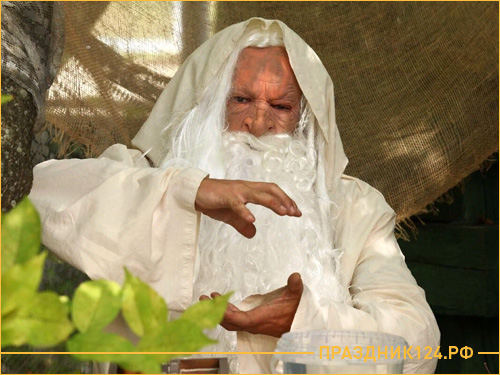 Дед волшебник с бородой ведет квест Форт Боярд